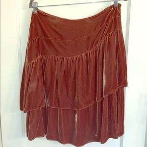 Boho Velvet Ruffle Skirt DKNY Size 10